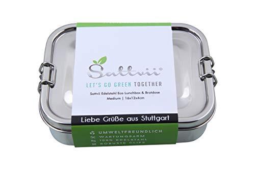 Sattvii® Edelstahl Eco Lunchbox & Brotdose   L-Lock   Größe M   800 ml   TÜV geprüft   Kinder   Outdoor   Meal Prep Container   Umweltfreundliche Essensbox frei von BPA