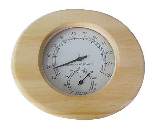 Sauna Thermometer und Hygrometer aus Massivholz in oval