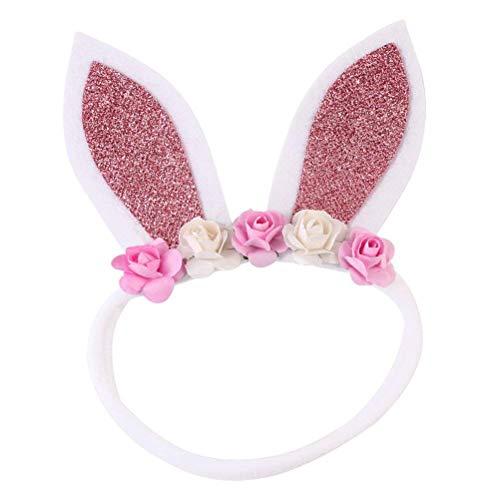 (Mode Baby Bunny Ohren Stirnband Kaninchen Haarband mit Dekorative Blume Cosplay Kostüm Zubehör Party Favors (rot) (Farbe : Pink))