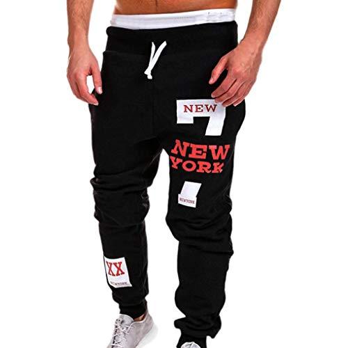 KPILP Herren Männer Chino Stoffhose Jeans Lange Hose Mode Freizeithose Jeanshosen Beiläufig Hose Jogginghose (rot,L)