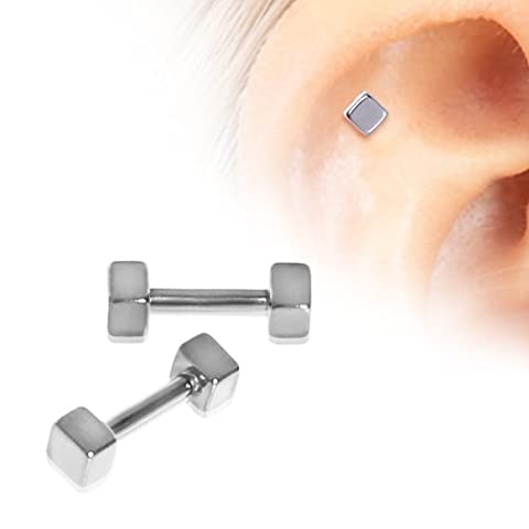 Double Cubed 1.2mm x 6mm Surgical Steel Tragus Cartilage Upper Ear Earring Barbell