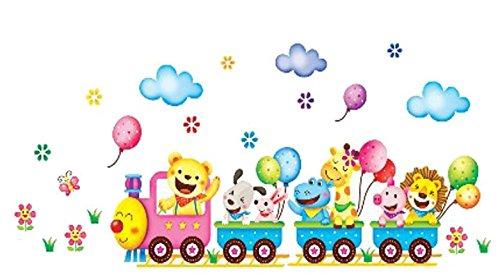 Wandtattoo Kinderzimmer Tiere Zug Wandaufkleber Wandsticker Baby Kinder Mädchen Junge Löwe Babyzimmer Spielzimmer Hund Lokomotive Zoo Schwein Giraffe