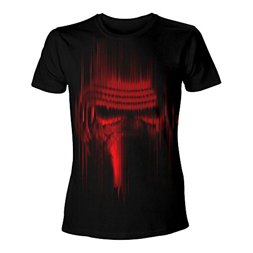 Star Wars The Force Awakens Adult Male Distressed Red Kylo Ren, Camiseta para Hombre, Negro Black, Small
