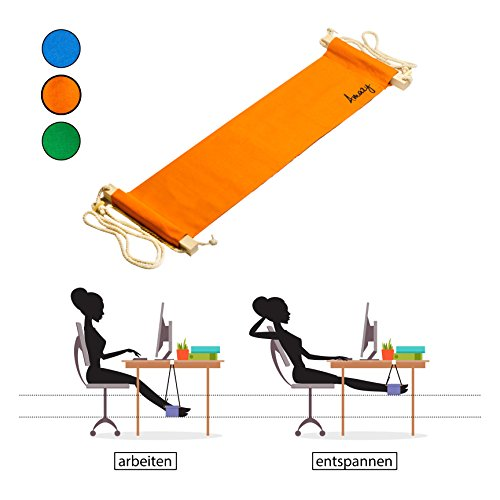 Amazy Fuß Hängematte für extra breite Tische bis 2,00 m – Praktische Fußstütze zur Entspannung und Entlastung im Büro (Orange)