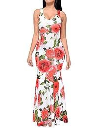 Vestidos de Fiesta Largos de Noche Cuello Redondo de Flores Atractivo Elegante y Encantador para Cóctel Partido Barra Festivales Acontecimientos Ocasiones Formales