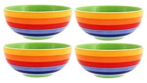 Windhorse Set of 4 Rainbow Striped Ceramic Bowls