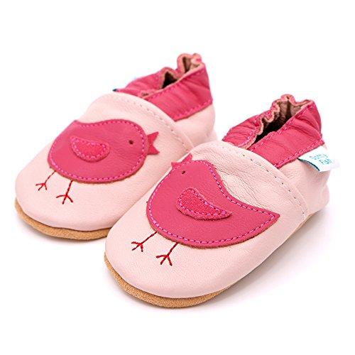 Dotty Fish - Zapatos de cuero suave para bebés - Niñas - Pájaros rosados - 27 PULm1m
