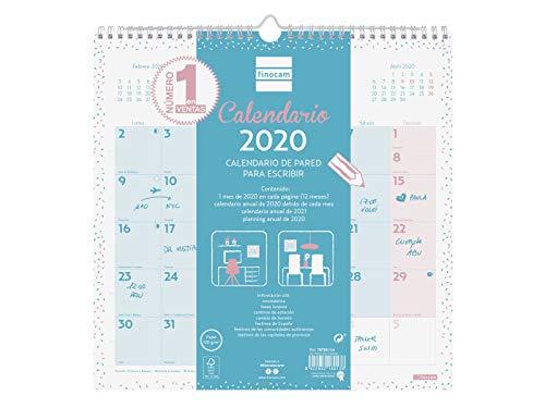 Finocam - Calendario de pared 2020 Escribir Chic Turquesa español