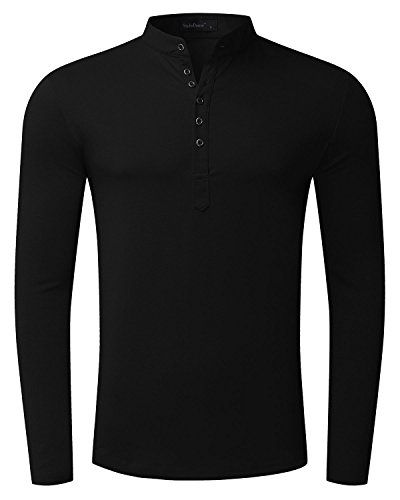MODCHOK Men's Long Sleeve T-Shirts Henley Collar Tee Shirt Cotton Button Neck Tops Black
