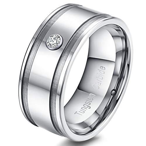 XBYBEI Männer Frauen 9mm Silber Wolframkarbid Zirkonia Inlay Matte Finsh Line Wedding Band Verlobungsring