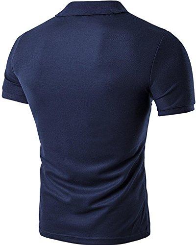 Sportides Mens Leisure Pocket Polo Shirt Short Sleeve T-Shirt Tops JZA026 JZA026_Navy