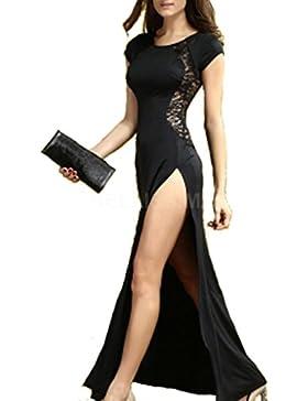 eb52835383f1 mywy - Vestito pizzo abito lungo elasticizzato vestitino party elegante  rosso carpet sexy n6137