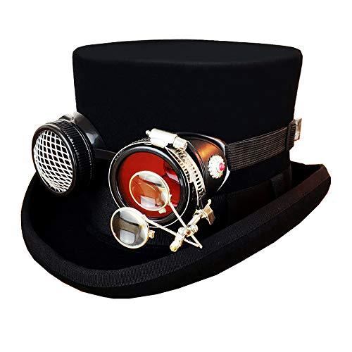 XC Steampunk Industrial Vintage Wool Manschetten Top Hat, -