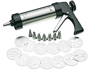 MasterClass Deluxe Stainless Steel Cookie Press / Icing Gun Set (22 Pieces)