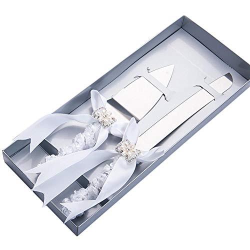 Nrkin Hochzeitstorte Messer und Server Set, Hochzeit Braut Kuchen Slicer Server Set Flower Bow mit Kristall Griff für Hochzeitstag