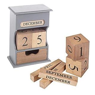 Wooden Rotating Blocks Shabby Chic Calendar