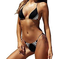 KPILP 2019 Nouveau Femme Maillot de Bain Sexy Taille Haute Maillot de Bain à Rayures Confortable Sexy Impression Bikini Maillots de Bain 2 pièces (Noir,FR-34/CN-S