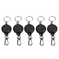 Tbest Retractable Keychain Heavy Duty Retractable Key Holder, 60cm Steel Wire Rope Retractable Key Chain Stretching Keys Clasp Anti-Lose Keyring for ID Card (5pcs)