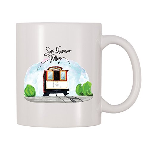 4 alle mal San Francisco Trolley Kaffee Tasse 11 Oz weiß