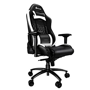 KLIM Esports - Chaise Gamer Très Haute Qualité - Nouveau - Finitions Soignées - Ajustable - Ergonomique - Inclinable - Confortable - Siege Bureau - Coussins Noir & Blanc - Nouvelle 2018 Version