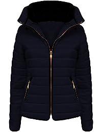 Vanilla Inc - chaqueta de invierno acolchada para mujer, con cremallera, con capucha,