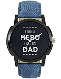 JK Round Father's Day Special Blue Gens Leather Analog Watch For Men & Boys (l07,Multicolor)