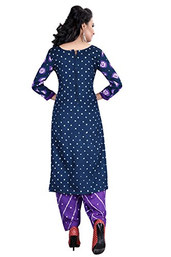 Taboody Empire Gathering Purple Satin Cotton Handi Crafts Bandhani Work With Straight Salwar Suit For Girls And...