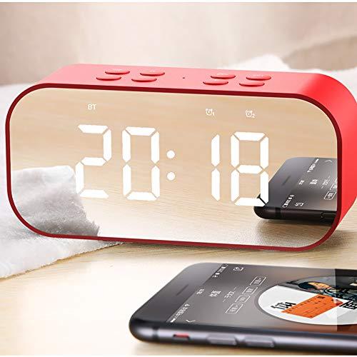 Bluetooth Wecker Lautsprecher Radiowecker Dual-Alarm LED Dimmable Display Snooze Schlummerfunktion Digital Tischuhr Für Schlafzimmer/Büro,Rot
