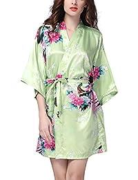 YAOMEI Mujer Vestido Kimono Satén, Camisón para Mujer, Sedoso Pavo & Flores Robe Albornoz