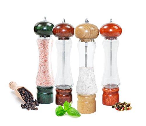 Sendez Pfeffermühle Salzmühle in 5 Farben Holz/Glas Gewürzmühle 21,5 cm Made in EU (Honig) -