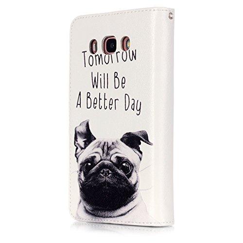 Preisvergleich Produktbild PU Smartphone Samsung Galaxy J5 (2016) J510 Hülle,(Schlitz 9) Echt Leder Tasche für Samsung Galaxy J5 (2016) J510 Hülle Flip Cover Handyhülle Bookstyle mit Magnet Kartenfächer Standfunktion + Staubstecker (3MI)