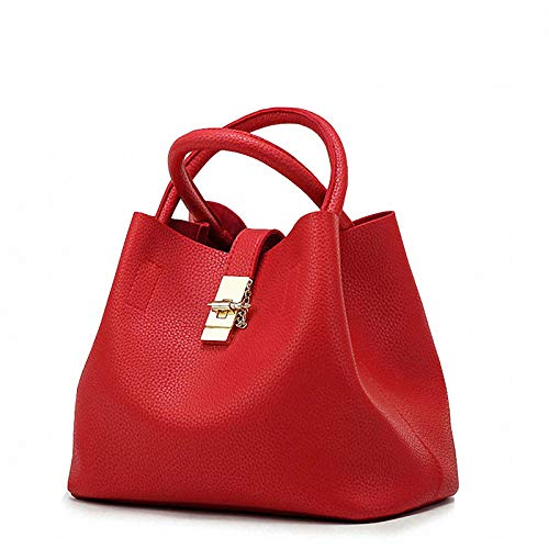 Damen-Laptop-Taschen-Tasche Große Quadratische Handtaschen Mit Justierbarem Handgriff-Lehrer-Käufer-Beutel Süßigkeit-Farbe PU-Leder Tagesrucksack,Red-31 * 18 * 23cm