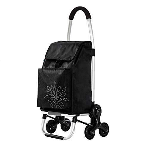 Rolling Wäscherei (Dicker Segeltuch-Trolley-Dolly-Treppensteiger mit 6 Rädern, Aluminium-Einkaufslebensmittelgeschäft-faltbarer Wagen, 84mm Durchmesser-Stange, leichter Gebrauchsrollbeutel-Wagen ( Farbe : Schwarz ))