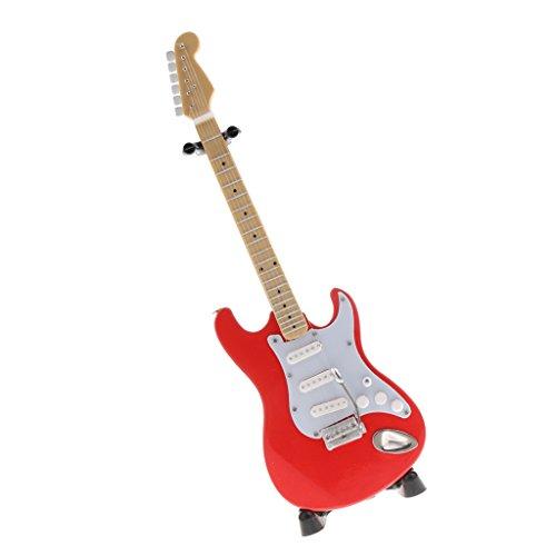 Baosity Escala 1: 6 Mini Guitarra de 6 Cuerdas de Madera en Miniatura con Sostenedor de Casa de Muñeca - Rojo A