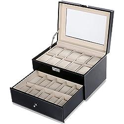 Homdox 20er Uhren Uhrenvitrine Uhrenbox Armbanduhr Sammler Schmuckkästchen Uhrenkoffer mit Glasfenster, Herausnehmbare Uhrenkissen und Schlüssel, Schwarz