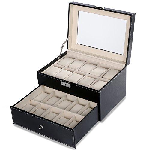 Homdox Uhrenbox Uhrenkasten Uhrenvitrine Kunstleder für 20 Uhren Uhrenkoffer, Schwarz