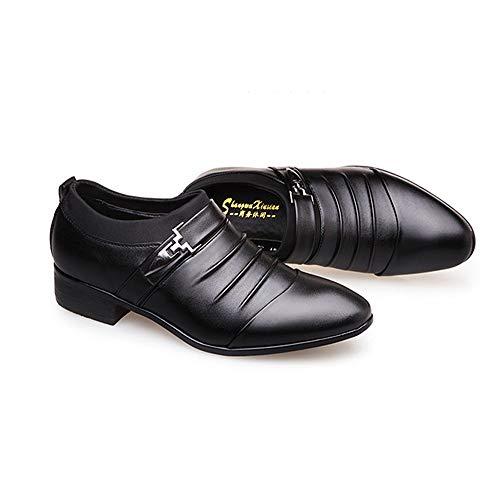 LANSHAY Jungen Männer Oxford Leathe Schuhe - Cap Toe Party Kleid Schuhe Mode Plain Slip auf für die Arbeit Indoor rutschfest Büro (Farbe : Schwarz, Größe : 43EU) Plain Toe Slip