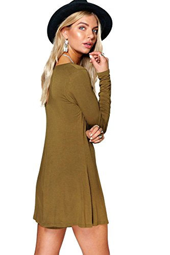 olive Ava Combishort Manches Longues Style Trapèze Olive