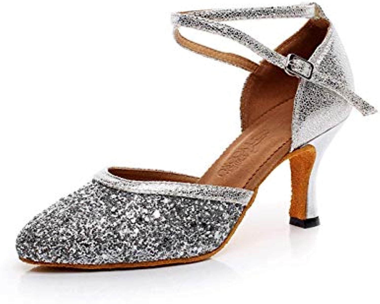 Yingsssq Yingsssq Yingsssq donna Latin Dance Tacco Alto Glitter Salsa Tango Modern Ballrom Mary Jance Scarpe da Ballo, argentoo... | Colori vivaci  aac3e2