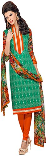 TFW Green Color Unstitched Salwar Kameez Dress Material