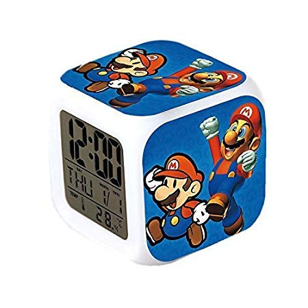 (Super Mario Bros. Anime Glühende LED Farbwechsel Digital Wecker)