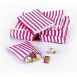 """Rosa caramelo bolsas de papel de raya - 5 """"x 7"""" - (1 paquete = 100 bolsas)"""