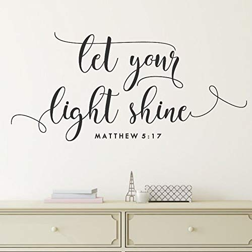 Let Your Light Shine Vinyl Wall Decal Quote Bible Verse Wall Sticker Home Decor 42X91Cm