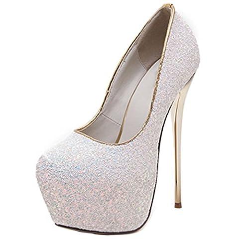 Oasap Women's Glitter Almond Toe Platform Stiletto High Heel Pumps,
