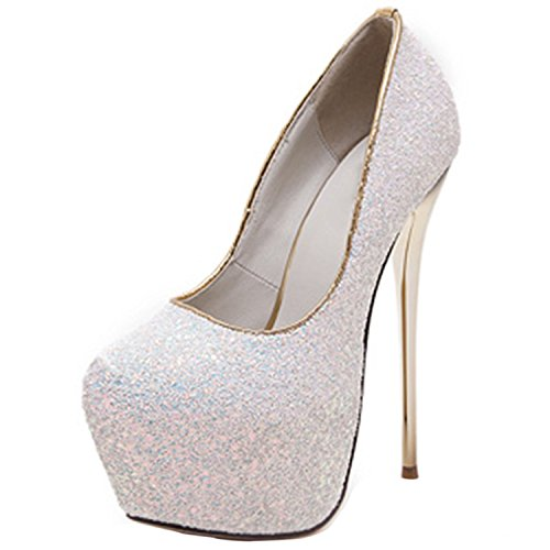 Oasap Damen Glitter Almond Toe Platform Stiletto High Heel Pumps White