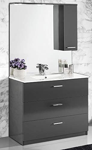 Dafnedesign.com - mobile da bagno con lavabo - antracite lucido con maniglie cromate, specchio e lavabo. cm. 101 x 47 x 195h. mobili di altissima qualità. (stmb)