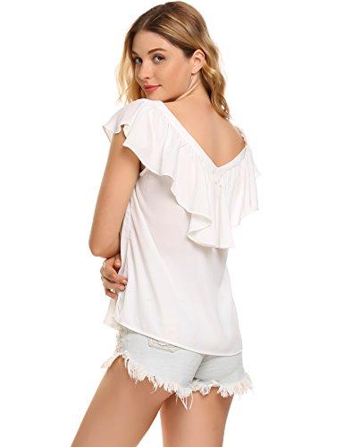 Zeagoo Damen V ausschnitte Bluse Elegant Kurzarm Fledermaus T-shirt Sexy Chiffon Oberteil in S-XXL Weiß