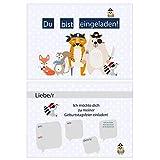 Flanacom Einladungskarten für Kindergeburtstag 12er Set - Einladungen für Geburtstag Kinder Geburtstagseinladungen Din A6 Kartenset - Motiv Piraten Tiere (mit Umschlägen)
