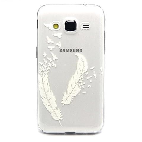 Samsung Galaxy Core Prime SM-G360F Coque, MYTHOLLOGY Blanc Plume 3D Flexible Slim Silicone TPU Transparente Anti-Rayure extrêmement Mince Arrière Housse Etui