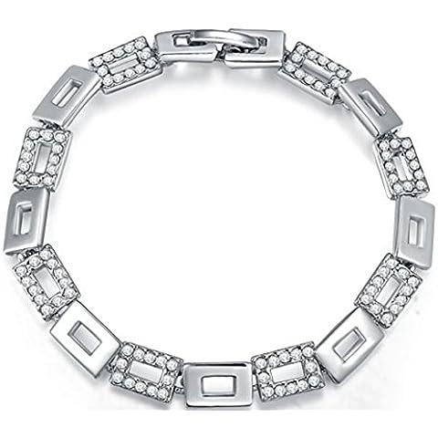 Ragazza 16,8cm ciondolo e elegante platino placcato quadrato combinazione cristalli pavimentazione Clip-on Bling Braccialetto
